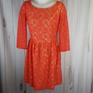 French Connection Lizzy Lace Mini Dress Tangerine